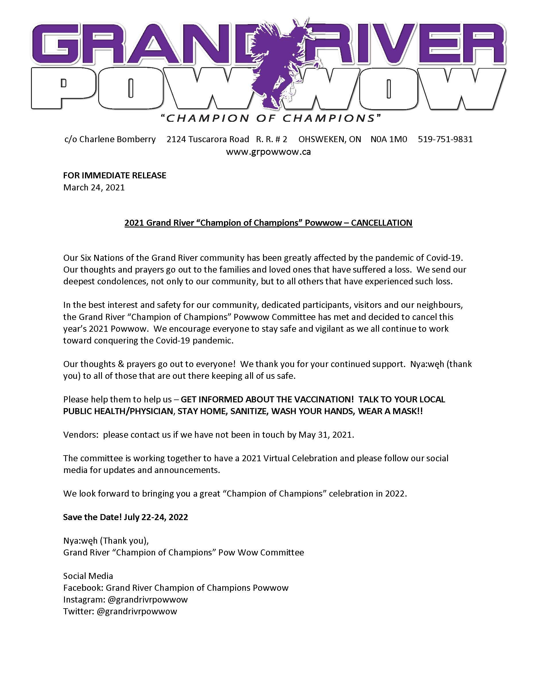2021 Cancellation announcement